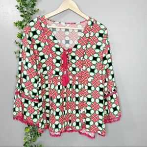 Crown & Ivy boho bell sleeve & lace peasant blouse